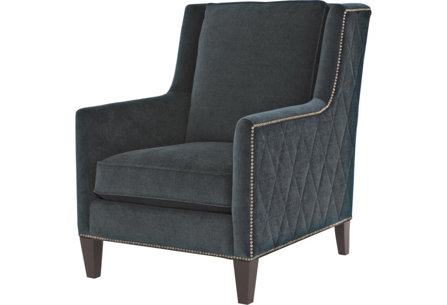Almada Contemporary Chair with Nail Head Trim by Bernhardt at Dunk & Bright  Furniture