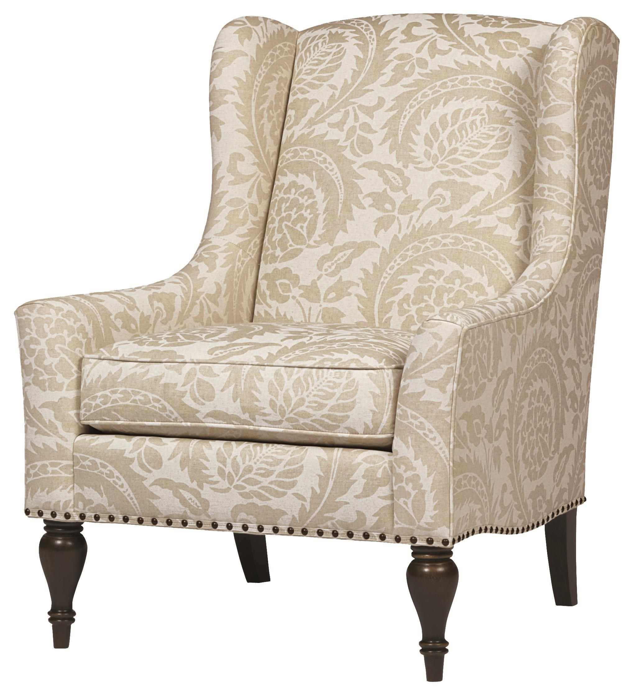 Bernhardt Upholstered Accents Sofia Wing Chair With Nail Head Accent Trim
