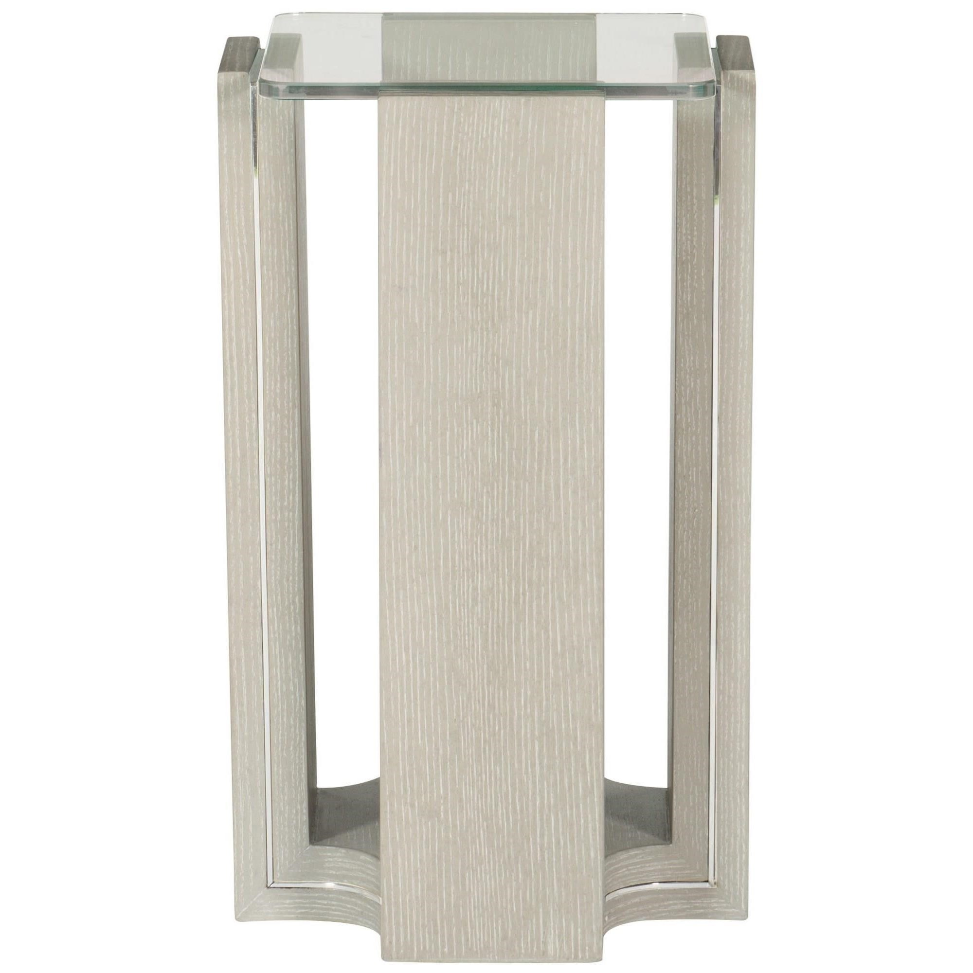 Contemporary Drink Table with Inlaid Stainless Steel Trim
