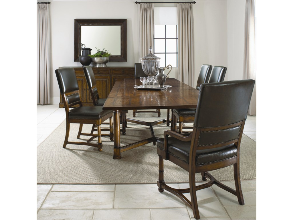 Shown in Room Setting with Trestle Table, Upholstered Arm Chair and Buffet