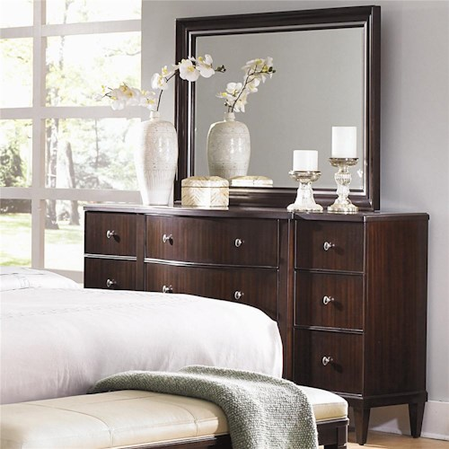 Bernhardt Westwood Contemporary Nine Drawer Dresser And Beveled Mirror