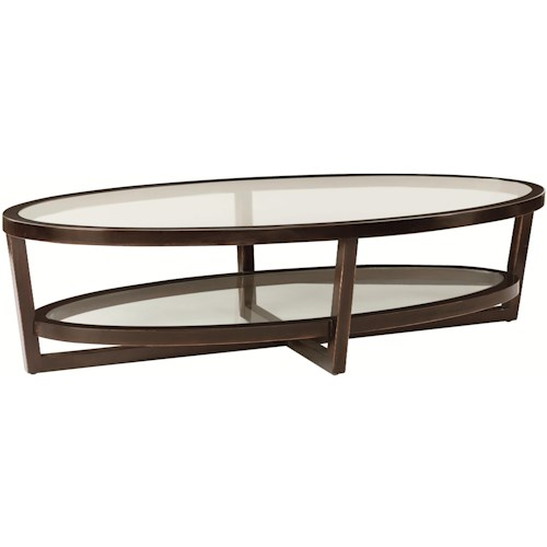 Bernhardt Zola Oval Mahogany & Tempered Glass Cocktail Table