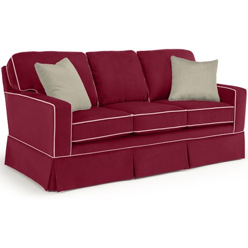 Best Home Furnishings Annabel  <b>Customizable</b> Transitional Sofa with Rolled Arms and Skirted Base