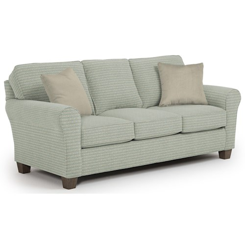 Best Home Furnishings Annabel  <b>Customizable</b> Transitional Sofa with Rolled arms and Tapered Block Legs