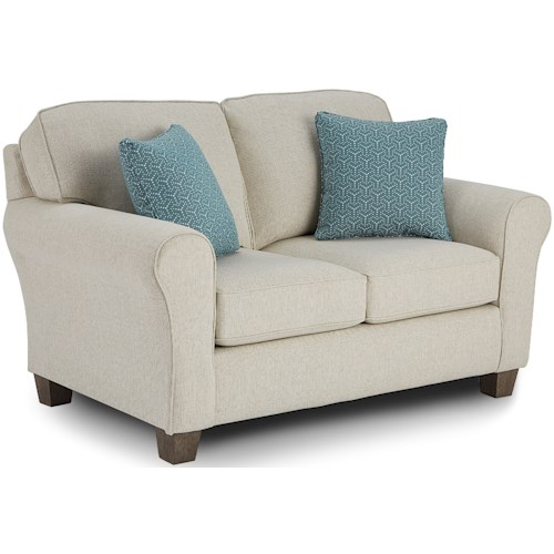 Best Home Furnishings Annabel  Customizable Transitional Loveseat with Rolled arms and Tapered Block Legs