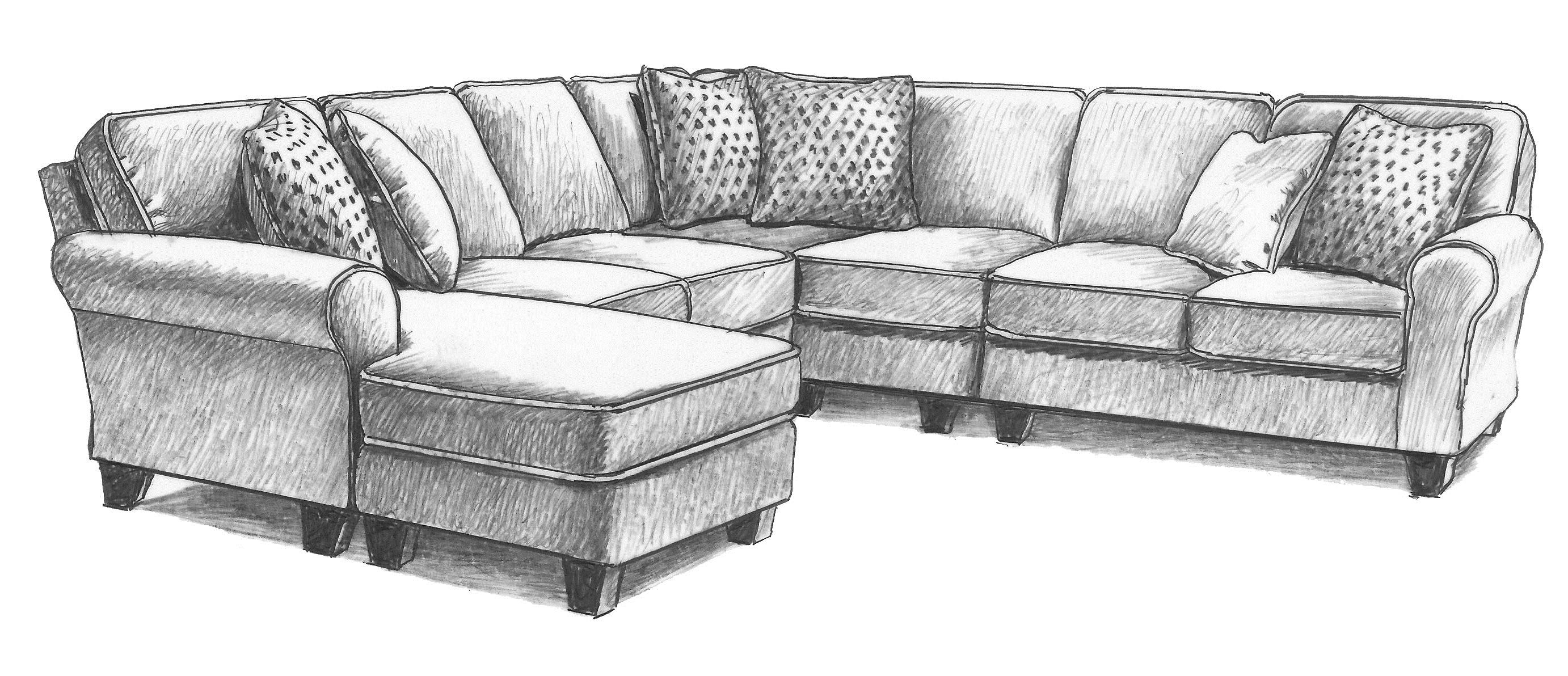 Five Piece Customizable Sectional Sofa with Sock Rolled Arms and Wood Feet