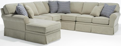 Best Home Furnishings Annabel  Five Piece Customizable Sectional Sofa with Sock Rolled Arms and Skirted Base
