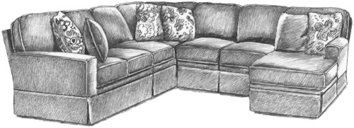 Best Home Furnishings Annabel  Five Piece Customizable Sectional Sofa with Beveled Arms and Skirted Base