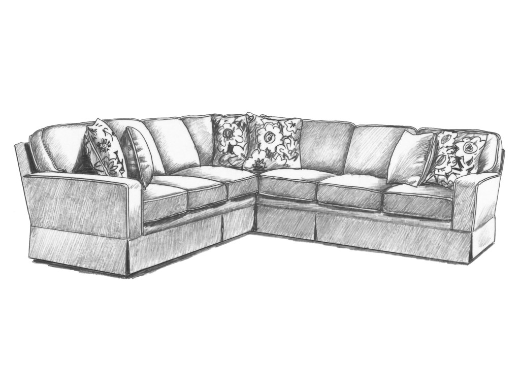 Annabel Five Piece Customizable Sectional Sofa with Track Arms and Wood  Feet by Best Home Furnishings at Turk Furniture
