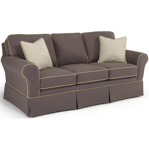 Best Home Furnishings Annabel  <b>Customizable</b> Traditional Sofa with Rolled Arms and Skirted Base