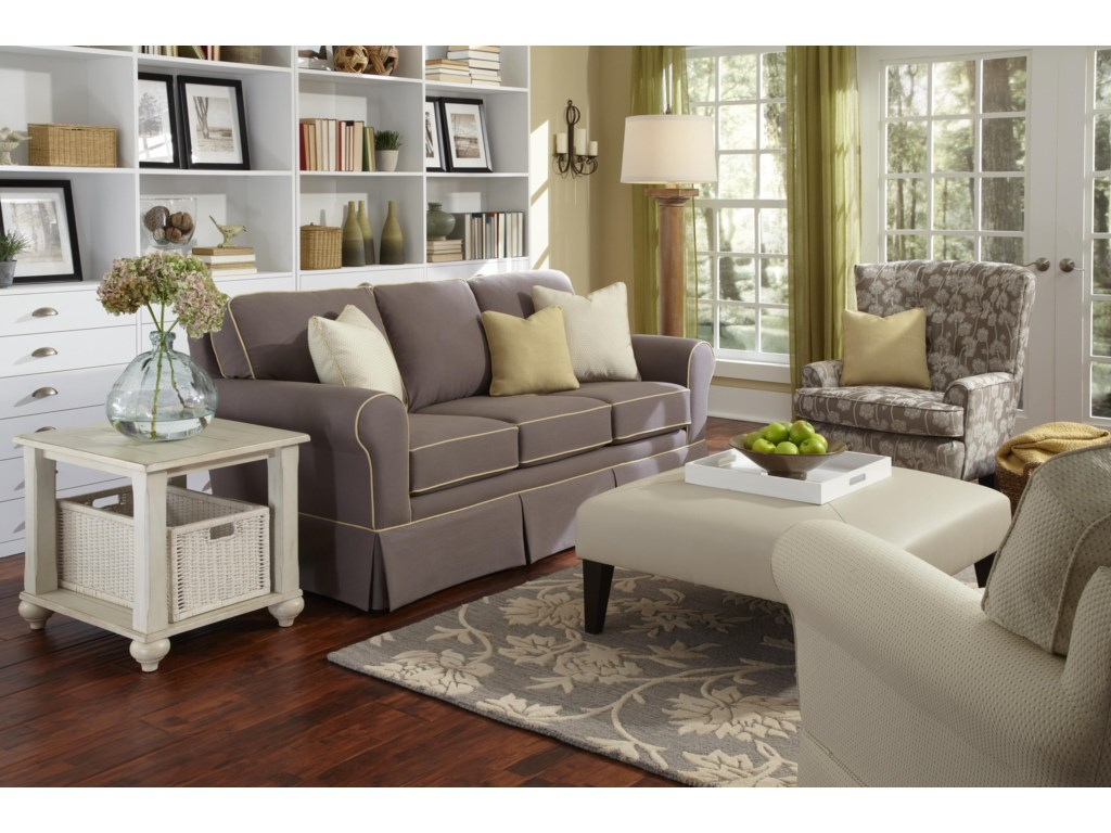 Shown with Button-Tufted Accent Chair and Custom Skirted Chair