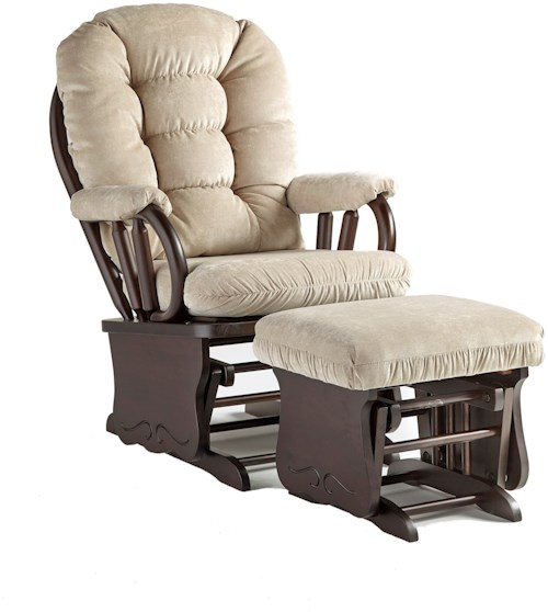 Best Home Furnishings Bedazzle Locking Glider Rocker and Ottoman