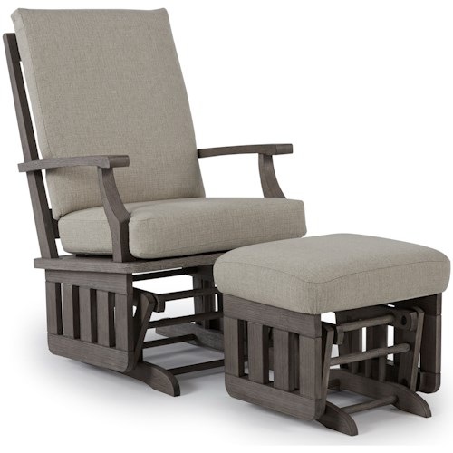 Best Home Furnishings Glider Rockers Casual Glide Rocker and Ottoman Set with Modern Slat Design