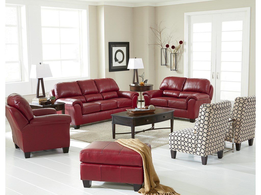 Shown with Club Chair, Loveseat, and Ottoman