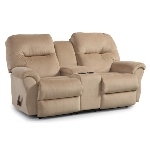 Best Home Furnishings Bodie Space Saver Reclining Loveseat with Storage Console