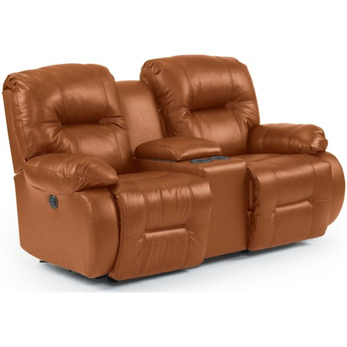 Best Home Furnishings Brinley 2 Power Rocking Console Loveseat with Power Tilt Headrest