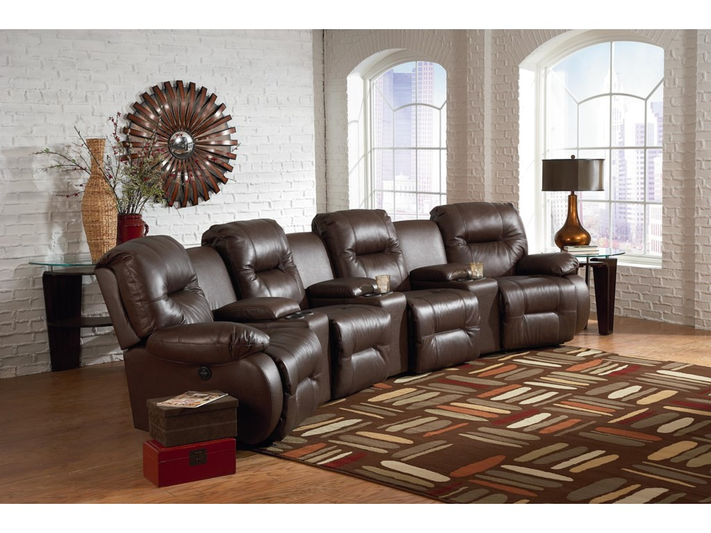 Best Home Furnishings Brinley 27 Pc Power Reclining Home Theater Group