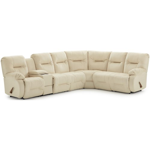 Best Home Furnishings Brinley 2 Casual Reclining Sectional Sofa with Storage Console and Cupholders
