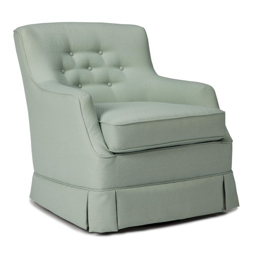 Best Home Furnishings Chairs - Swivel Glide Eliza Swivel Glider with Skirted Base and Button Tufting