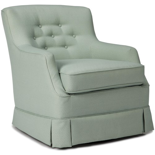 Best Home Furnishings Swivel Glide Chairs Eliza Swivel Glider with Skirted Base and Button Tufting