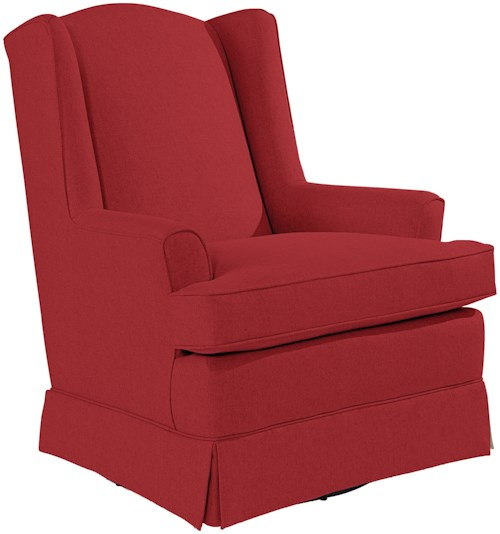 Best Home Furnishings Chairs - Swivel Glide Natasha Swivel Glider with Wing Back and Skirt