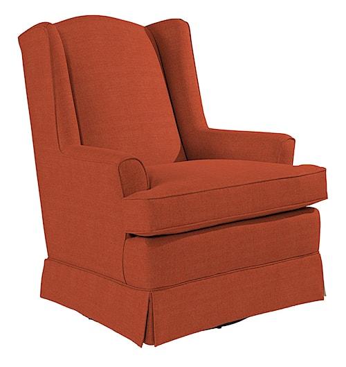 Best Home Furnishings Chairs - Swivel Glide Natasha Swivel Glider with Wing Back and Skirt