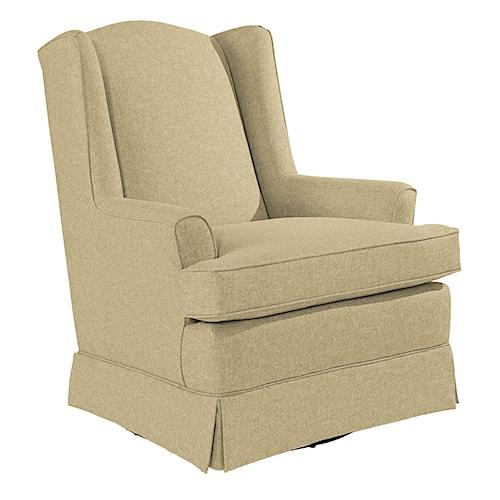 Best Home Furnishings Swivel Glide Chairs Natasha Swivel Glider with Wing Back and Skirt