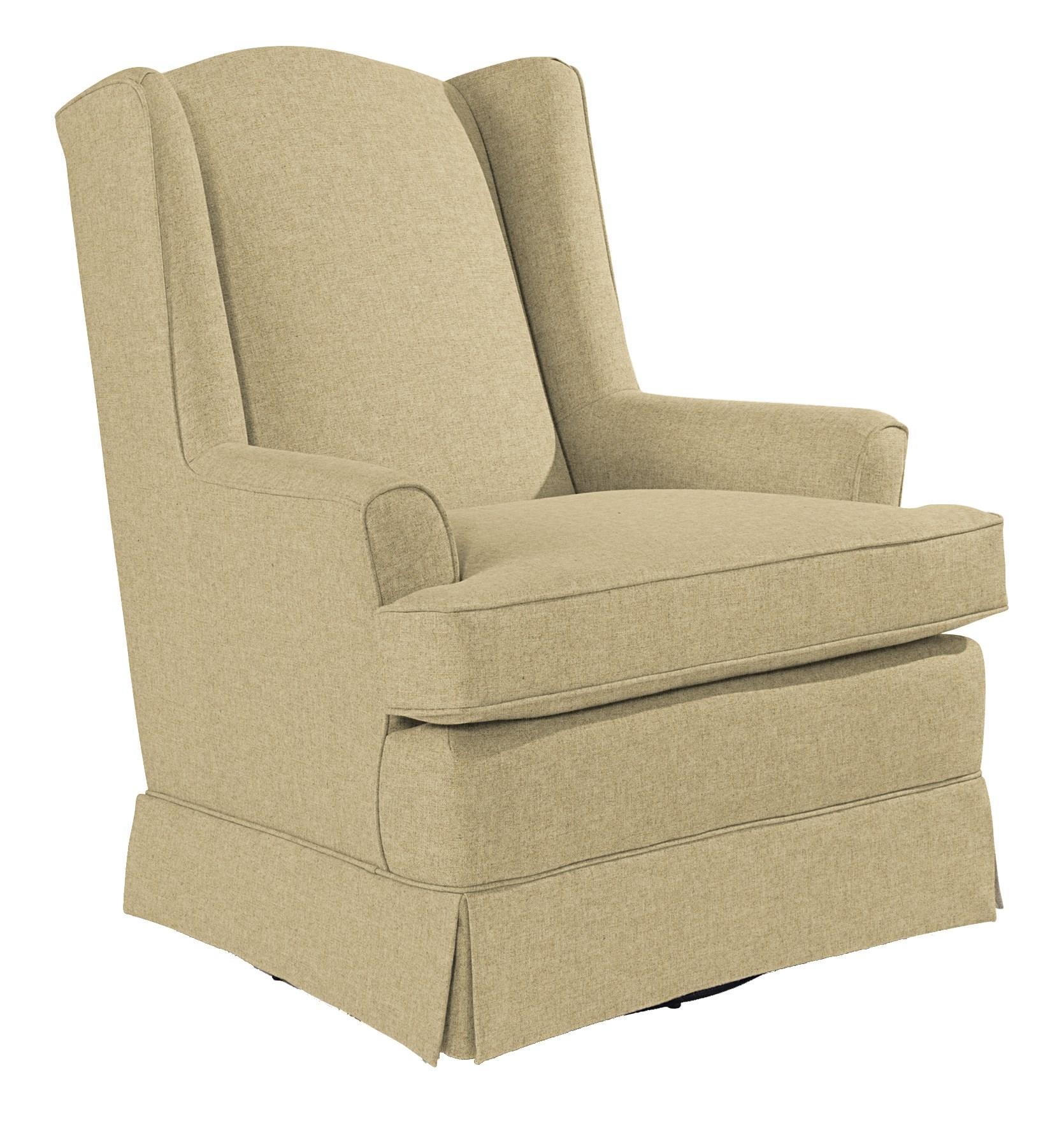 Best Home Furnishings Chairs   Swivel Glide Natasha Swivel Glider With Wing  Back And Skirt