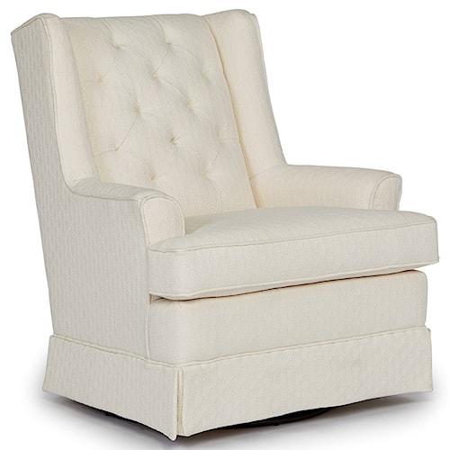 Best Home Furnishings Swivel Glide Chairs Nikole Skirted Swivel Glider