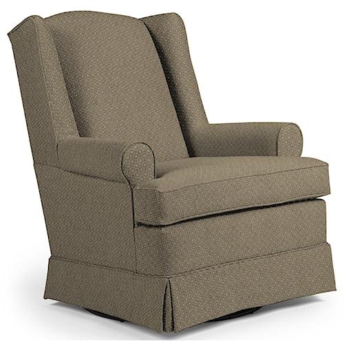 Best Home Furnishings Chairs - Swivel Glide Roni Skirted Swivel Glider Chair