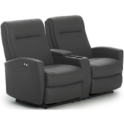 Best Home Furnishings Costilla Contemporary Space Saver Power Reclining Loveseat with Drink Console and Charging Port