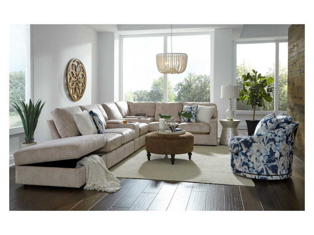 Best Home Furnishings Dovely5-Seat Sofa w/ Wireless Charge & LAF Ottoman