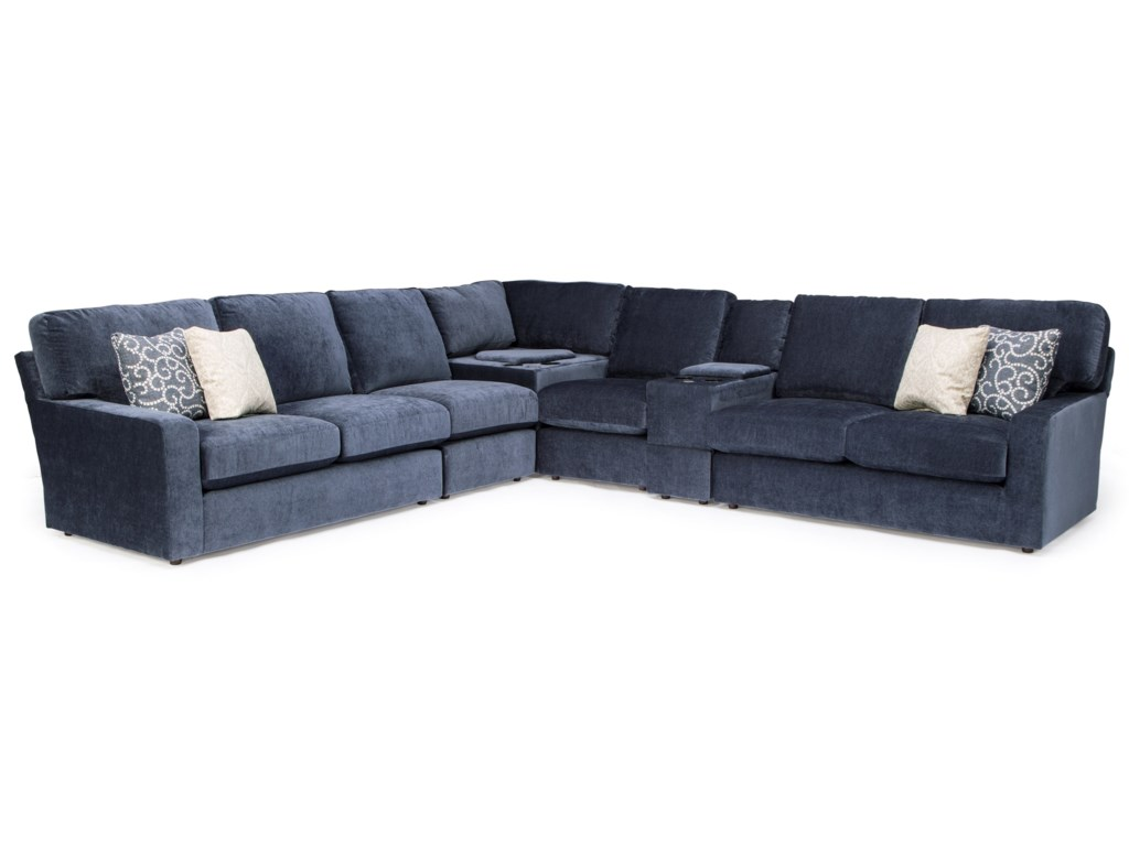 Best Home Furnishings Dovely Casual 6-Piece Sectional Sofa with ...