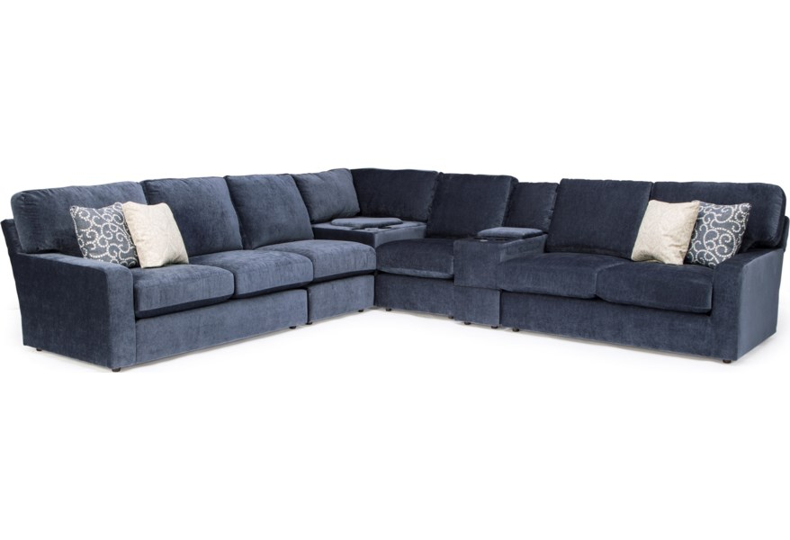 Best Home Furnishings Dovely Casual 6-Piece Sectional Sofa ...