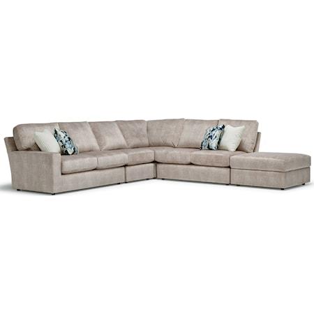 5-Seat Sectional Sofa w/ RAF Ottoman Piece