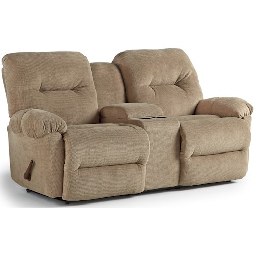 Best Home Furnishings Ellisport Rocking Reclining Loveseat with Cupholder Storage Console