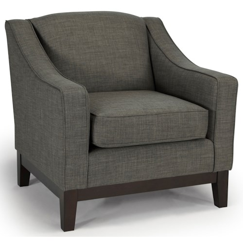 Best Home Furnishings Emeline <b>Customizable</b> Chair with Track Arms and Wood Legs