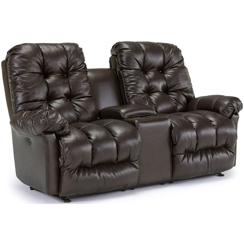 Best Home Furnishings Everlasting Space Saver Reclining Loveseat with Storage Console