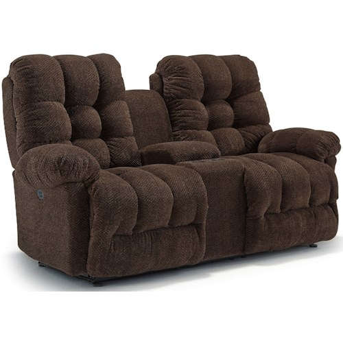 Best Home Furnishings Everlasting Power Rocking Reclining Loveseat with Storage Console and Power Headrest