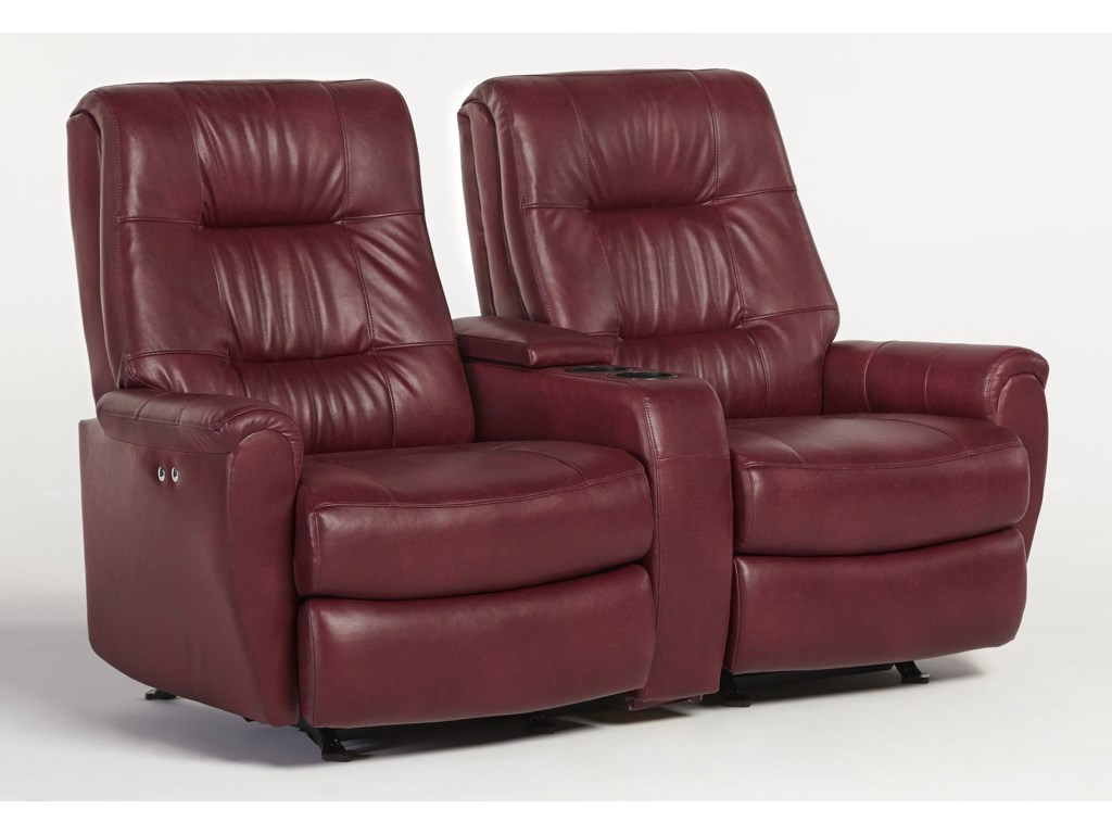 Best Home Furnishings Felicia Reclining Space Saver Loveseat w/ Console