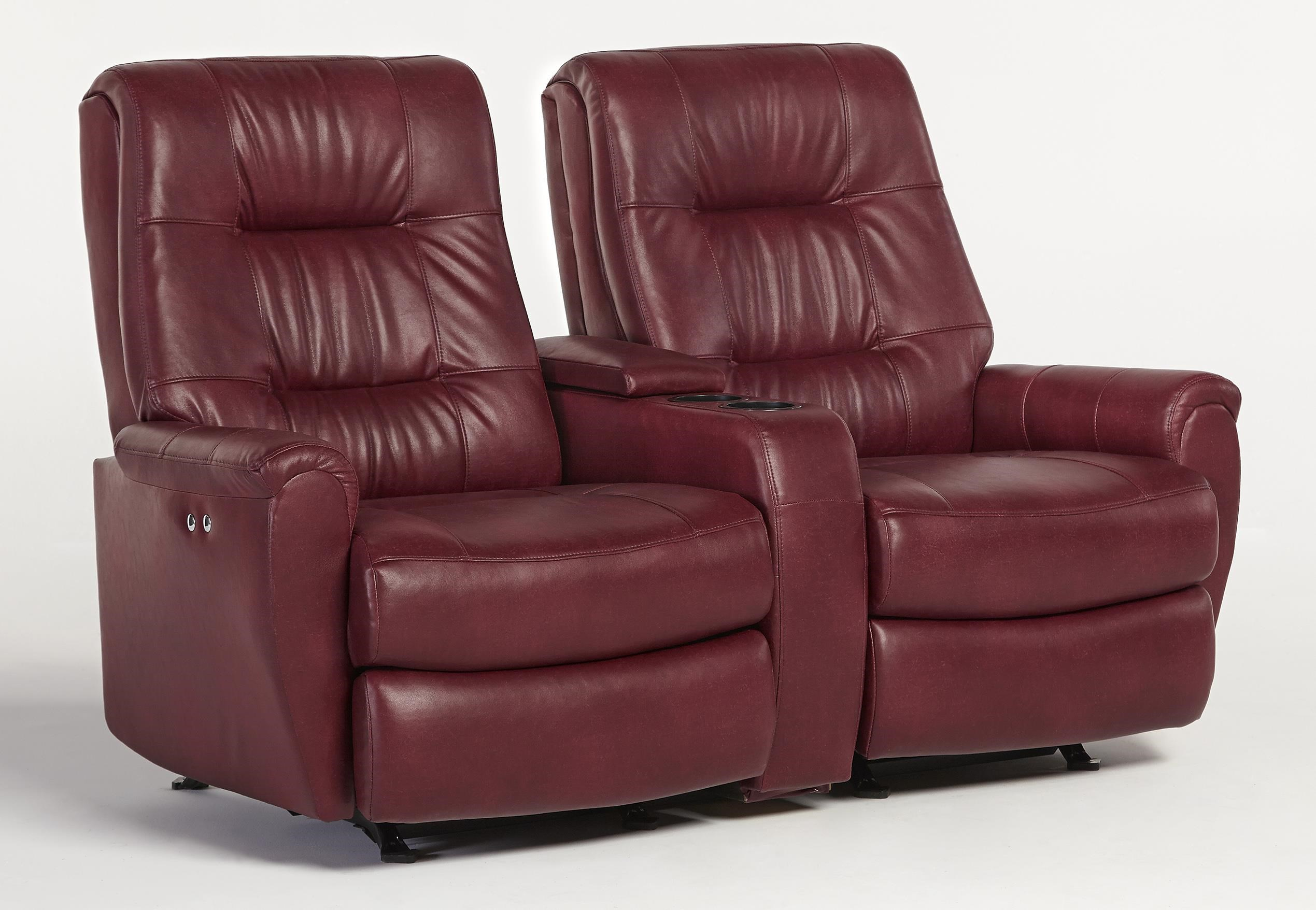 Best Home Furnishings Felicia Small Scale Power Rocking Reclining Loveseat  With Drink And Storage Console