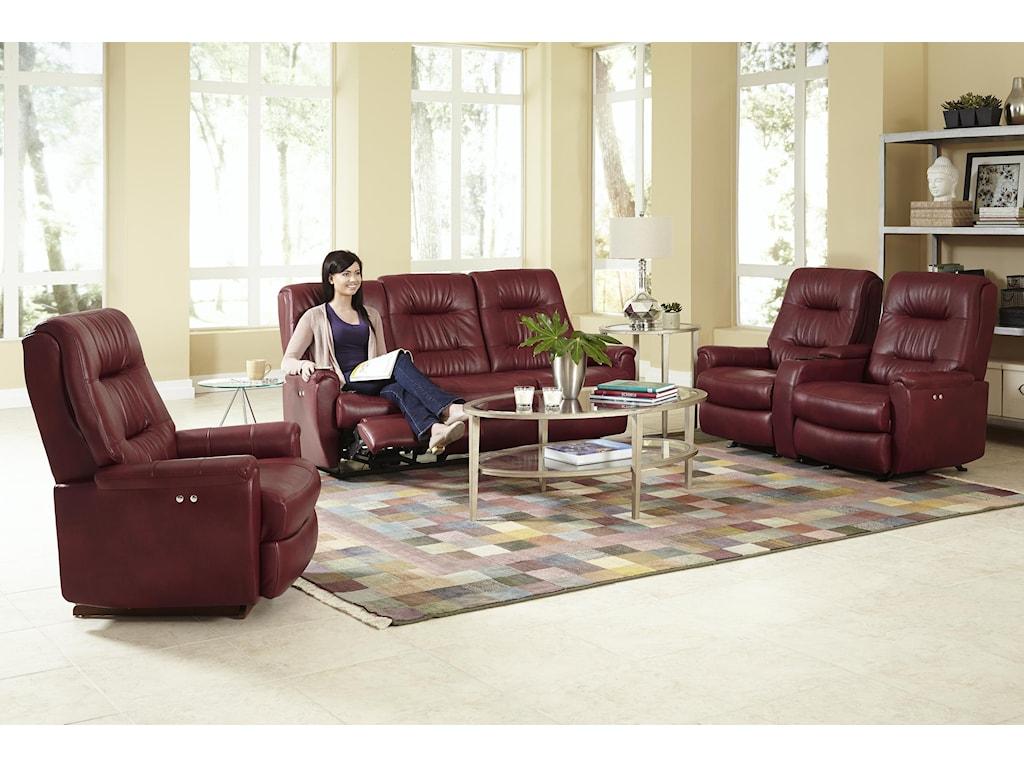 Best Home Furnishings Felicia Power Rocking Reclining Loveseat w/ Cnsl