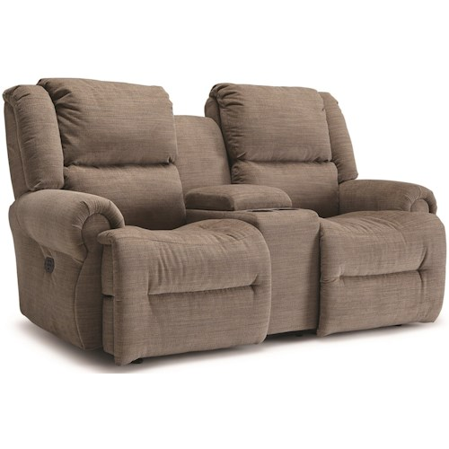 Best Home Furnishings Genet Power Rocking Reclining Loveseat with Cupholder Storage Console and USB Charging Ports