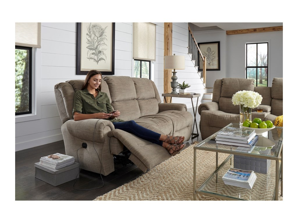 Best Home Furnishings GenetPwr Tilt Headrest Wall Reclining Sofa w/Tray