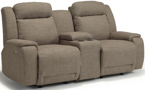 Best Home Furnishings Hardisty Power Space Saver Reclining Loveseat with Cupholder and Storage Console