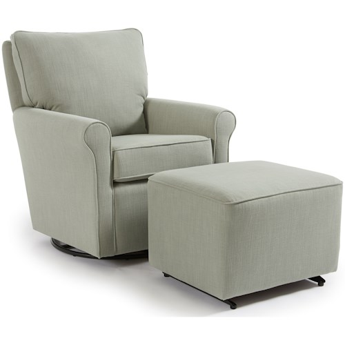 Best Home Furnishings Kacey Casual Swivel Glider Chair and Ottoman