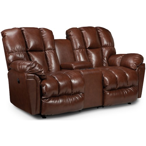 Best Home Furnishings Lucas Plush Power Rocking Reclining Loveseat with Drink Console