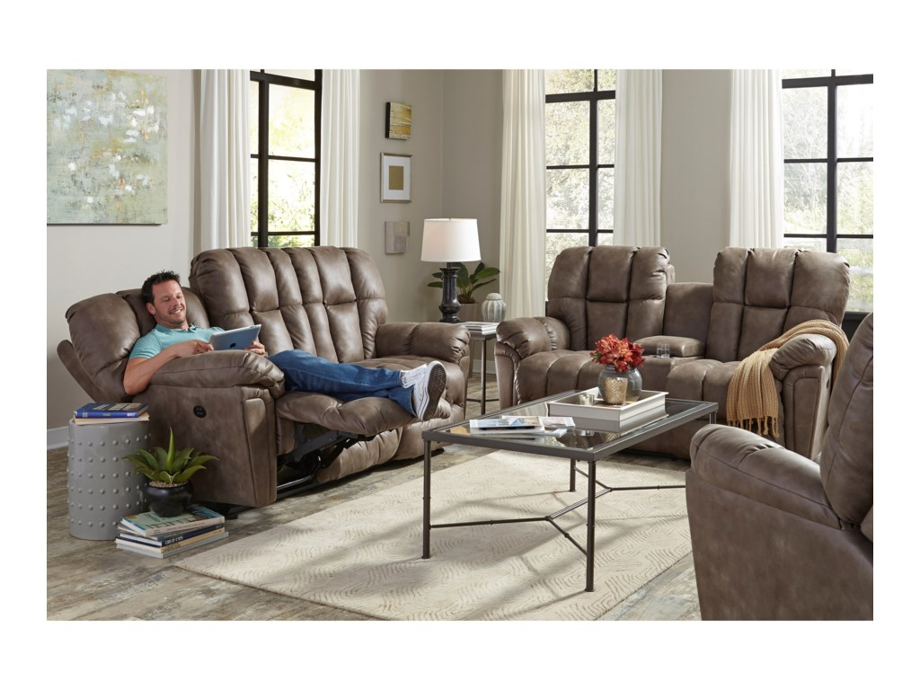 Studio 47 LucasRocking Reclining Loveseat w/ Console