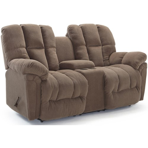 Best Home Furnishings Lucas Power Space Saver Reclining Loveseat with Drink Console and Power Tilt Headrest