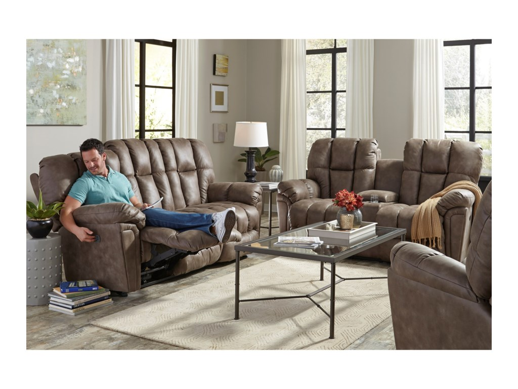 Best Home Furnishings LucasPwr Rock Reclining Love w/ Console & Headres